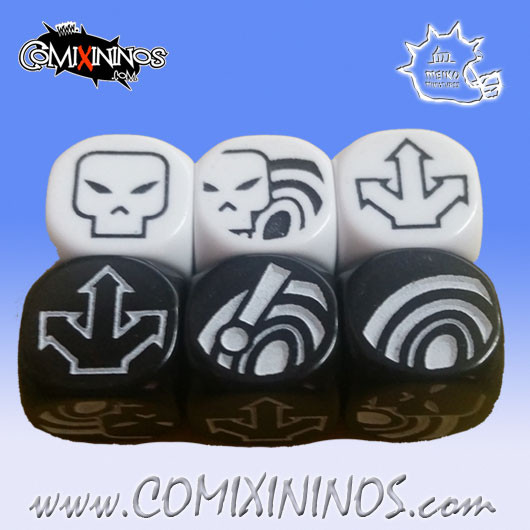 Set of 6 Bombas Block Dice - White and Black