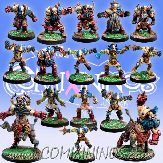 Evil Dwarves - Evil Dwarf Team of 16 Players with 2 Bull Centaurs - Meiko Miniatures