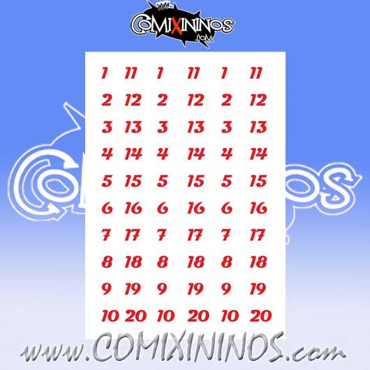 Number Decal Template nº 10 - Red