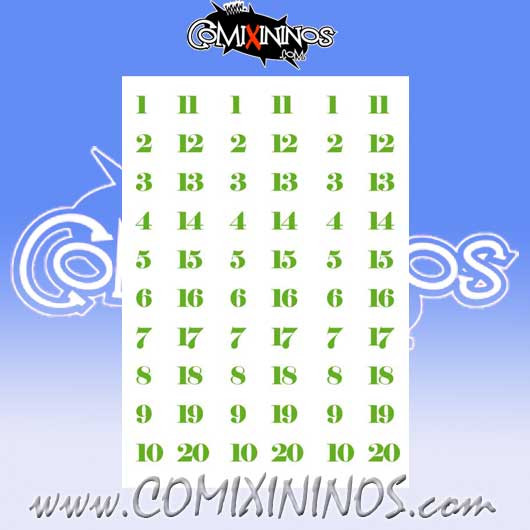 Number Decal Template nº 14 - Green