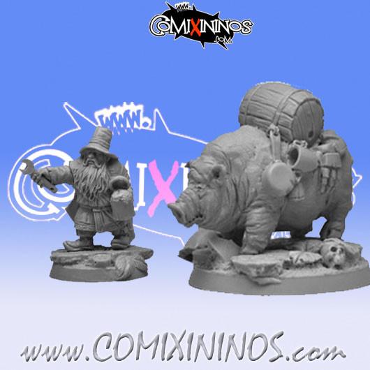 Dwarves - Set of Dwarf Medic and Pig Ambulance - Scibor Miniatures