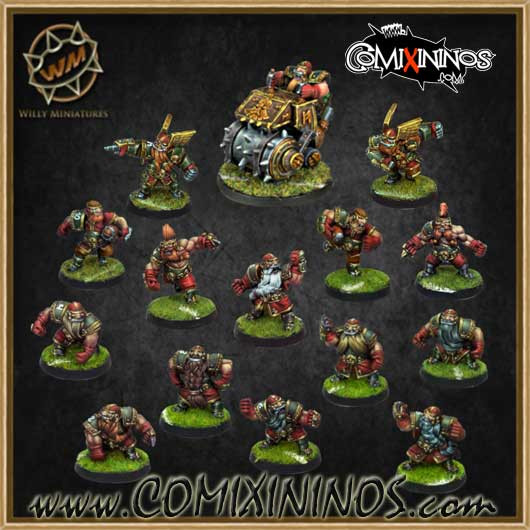 Dwarves - Dwarf Complete Team of 15 Players with Steamroller - Willy Miniatures