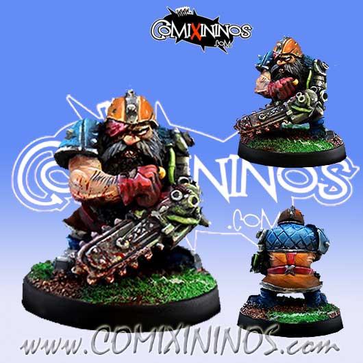 Dwarves - Flinch Dwarf Chainsaw Star Player - Meiko Miniatures