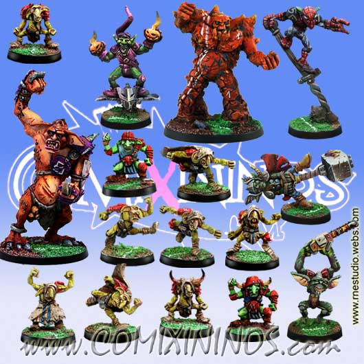 Goblins - Complete Team of 16 Players with Weapons and Trolls - Meiko Miniatures