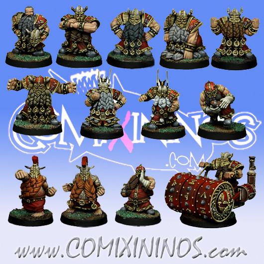 Dwarves - Dwarf Team of 13 Players with Steamroller - SP Miniaturas
