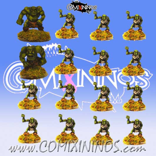 Magnetic Goblin Team of 16 Players for Mini-BB