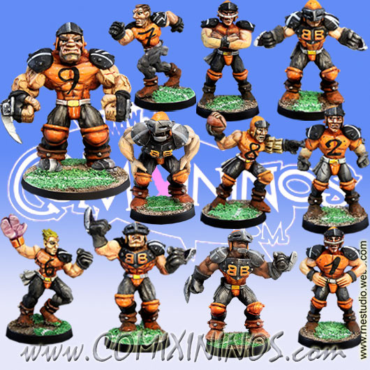 Humans - Ball-Breakers Team of 11 Players with Ogre - Meiko Miniatures