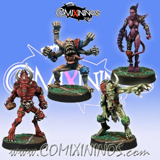 Evil - Set of 4 Evil Demon Beastmen - Meiko Miniatures