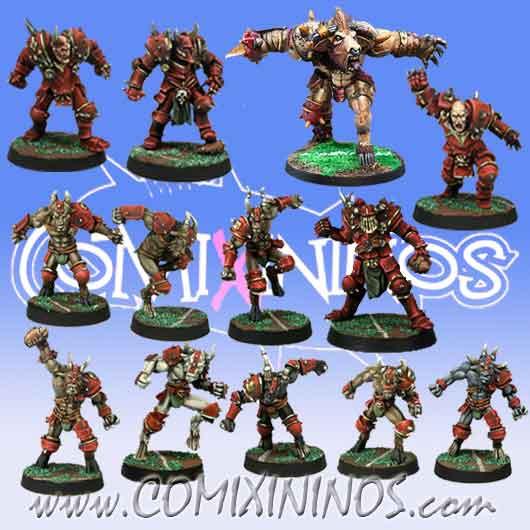 Evil - Team of 13 Players with Minotaur - Meiko Miniatures