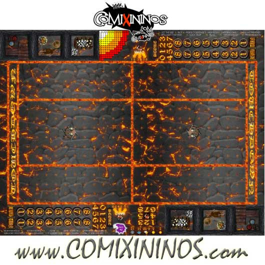 Lava Plastic Gaming Mat with Crossed Dugouts - Comixininos