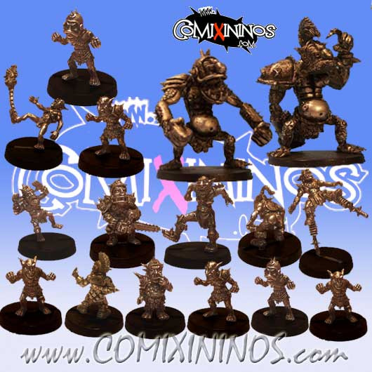 Goblins - Complete Team of 16 Players with 2 Trolls - Uscarl Miniatures