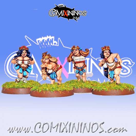 Dwarves - Line Maidens Dwarf Ladies Linewoman Set of 4 – Warlord Games