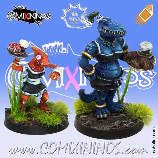 Lizardmen - Set of Lizaurus and Baby Lizard Bloodweiser Girls - Meiko Miniatures