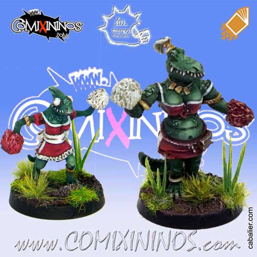 Lizardmen - Set of Lizaurus and Baby Lizard Cheerleaders - Meiko Miniatures