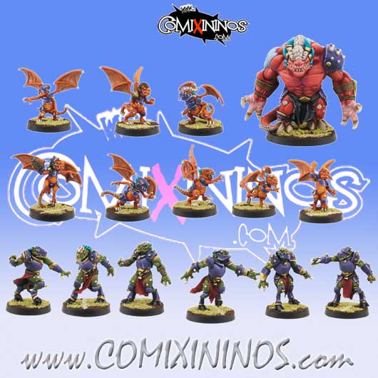 Lizardmen - Resin Draconian Complete Team of 15 Players with Big Guy - Willy Miniatures