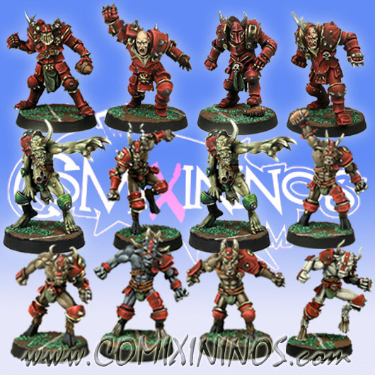 Evil - Nurgly Team of 12 Players with two Putrid Demons - Meiko Miniatures