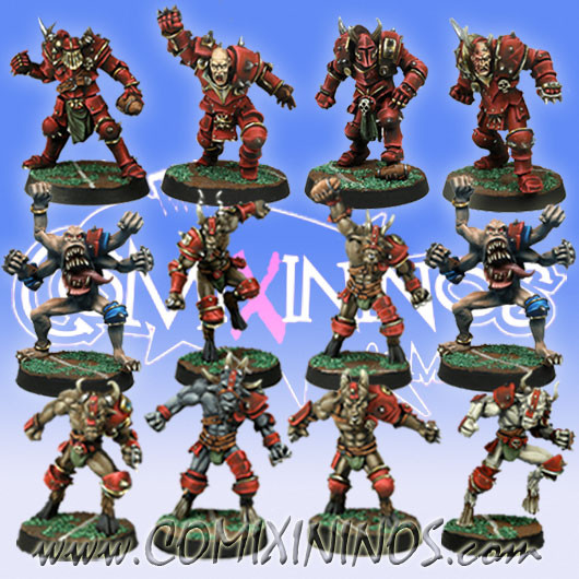 Evil - Tzintchy Team of 12 Players with two Transformation Demons - Meiko Miniatures
