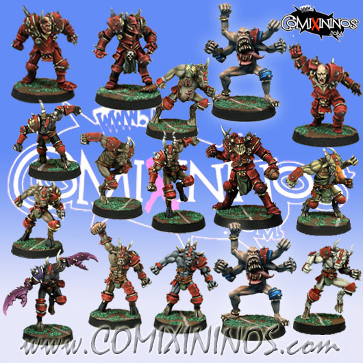 Evil - Tzintchy Team of 16 Players with two Transformation Demons - Meiko Miniatures