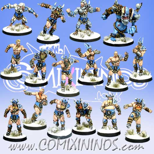 Norses - Norse Team of 16 Players with Snow Troll - Meiko Miniatures