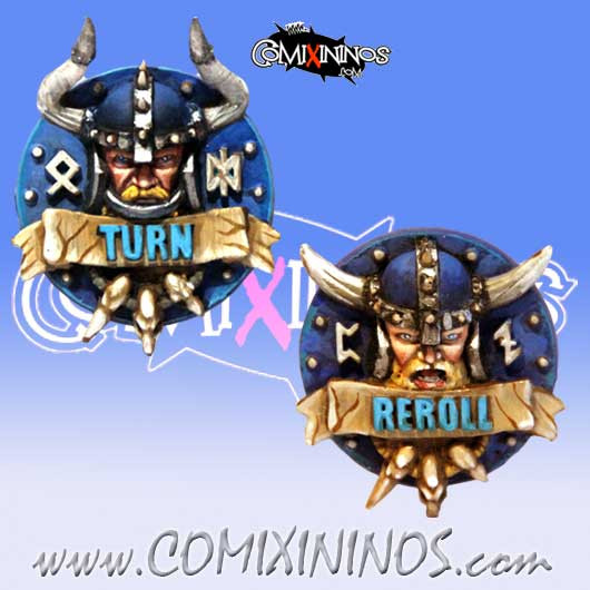 Norses - Set of 2 Norse Reroll and Turn Metal Counters - Meiko Miniatures