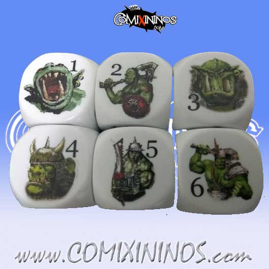 Set of 2d6 Illustrated Orc Dice
