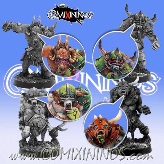 Set of 4 Beastmen or Pestigor Heads - Meiko Miniatures