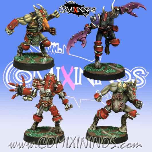 Evil - Set of 4 Mutated Beastmen - Meiko Miniatures