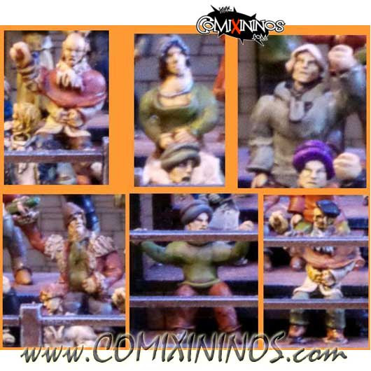 Sitting Crowd - Set of 6 Miniatures - Sally 4th