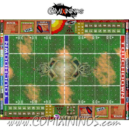 Skulls Plastic Gaming Mat with Crossed Dugouts - Comixininos