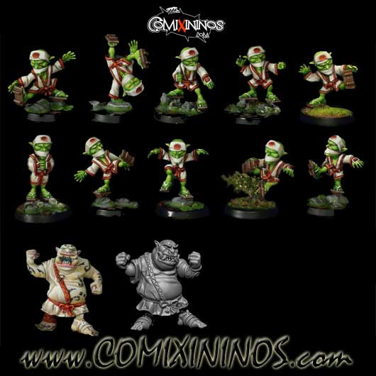 Goblins - Resin Tengu Team of 12 Players with two Ogres - Rolljordan