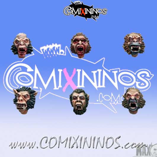 Werewolf Heads Set of 6 - MaxMini