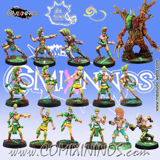 Wood Elves - Complete Team of 16 Players with Treeman - Meiko Miniatures