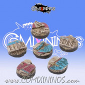 Set of Five 25 mm Egyptian Tomb King Bases - Tabletop Arts