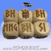 1d6 Meiko Norse Injury Dice Large Size 20 mm - Wooden