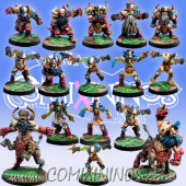 Evil Dwarves - Evil Dwarf Team of 16 Players with 2 Bull Centaurs - Meiko Miniatures