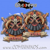 Set of 2 Delux Evil Dwarf Reroll and Turn Counters - Chaos Factory