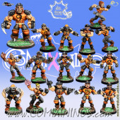 Humans - Complete Ball-Breakers Team of 16 Players with Ogre - Meiko Miniatures
