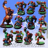 Orcs - Team of 11 Players with Troll - Meiko Miniatures