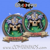 Set of 2 Delux Undead Reroll and Turn Counters - Chaos Factory