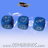 Set of 3 F.O.T. Block Dice - Blue