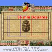 34 mm Egyptian Tomb Kings Plastic Gaming Mat with BB7 and Crossed Dugouts - Comixininos