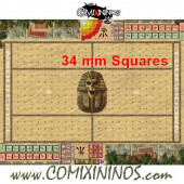 34 mm Egyptian Tomb Kings Plastic Gaming Mat with Crossed Dugouts - Comixininos