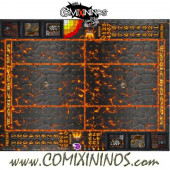 29 mm Lava Plastic Gaming Mat with Crossed Dugouts - Comixininos