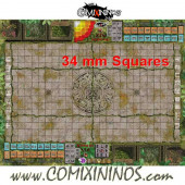 34 mm Lustria Plastic Gaming Mat with Crossed Dugouts - Comixininos