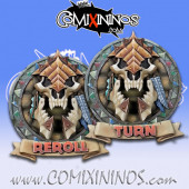Set of 2 Delux Lizardmen Reroll and Turn Counters - Chaos Factory