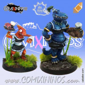 Lizardmen - Set of Lizaurus and Baby Lizard Bloodweiser Girls - Meiko Miniatures