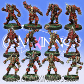 Evil - Khorny Team of 12 Players with two Blood Demons - Meiko Miniatures