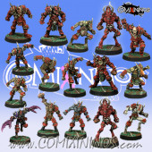 Evil - Khorny Team of 16 Players with two Blood Demons - Meiko Miniatures