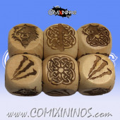 Set of 3 Norse Block Dice Large Size 20 mm - Wooden