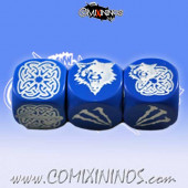 Set of 3 Blue Norse Block Dice - Meiko